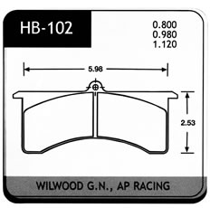 BRAKE PAD, HAWK, HB-102 SERIES