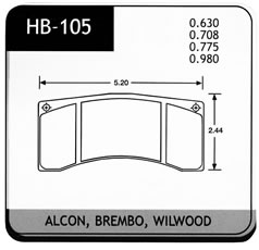 Brake Pad, Hawk, HB105 Series